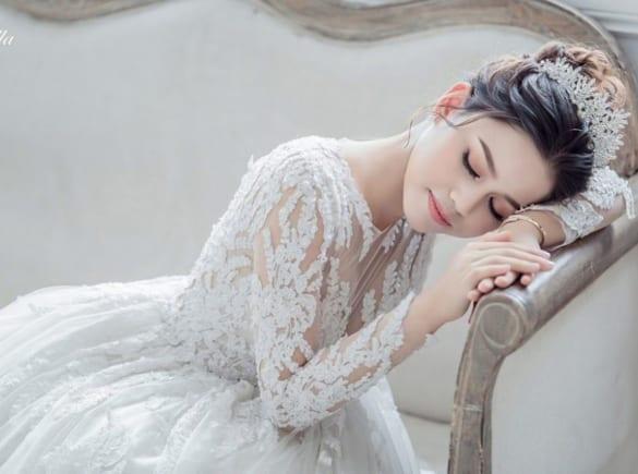 Váy cưới 2 trong 1 tay dài cho nàng dâu mùa thu đông