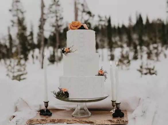 Bánh cưới cho hôn lễ mùa đông