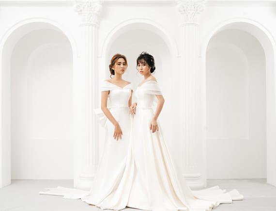 Váy cưới Satin đơn giản lên ngôi